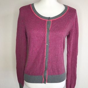 CAbi Meg Cardigan Sweater Mosaic Fitted Small